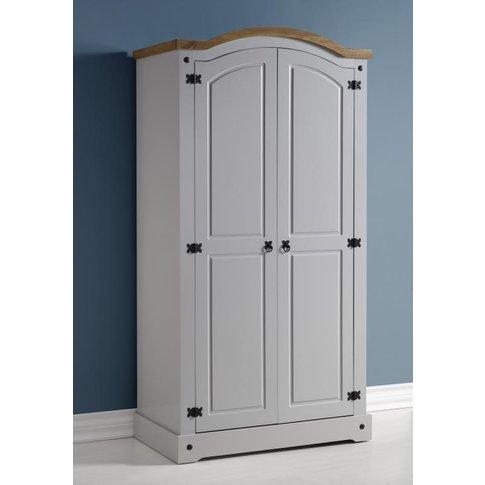 Corona 2 Door Wardrobe in Grey/Distressed Waxed Pine