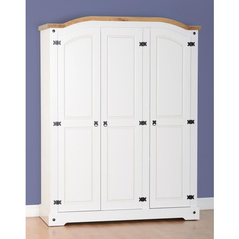 Corona 3 Door Wardrobe in White/Distressed Waxed Pine
