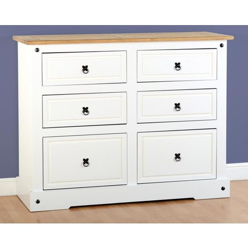 Corona 6 Drawer Chest in White/Distressed Waxed Pine