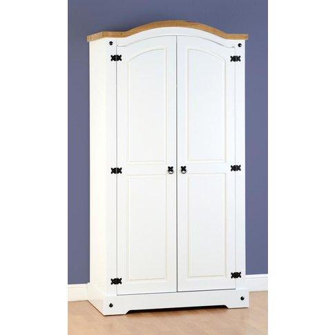 Corona 2 Door Wardrobe In White/Distressed Waxed Pine