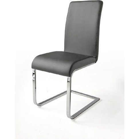 Lotte I Metal Swinging Grey Faux Leather Dining Chair