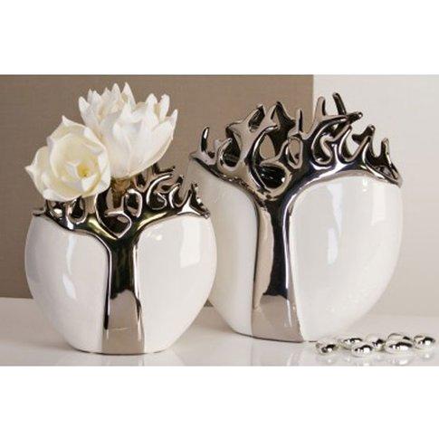 Silver Tree Design Waterproofed Vase In White