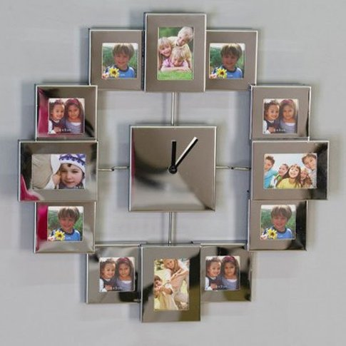 Family Time Photograph Display Wall Clock In Silver