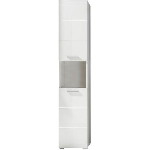 Amanda Tall Bathroom Cabinet In White With High Glos...