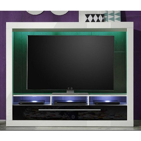 Melody Lcd Tv Stand In Gloss White And Black With Le...