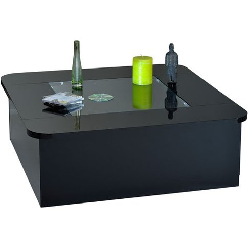 Fiesta Black High Gloss Clear Glass Top Coffee Table...