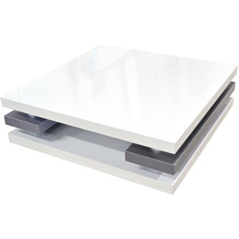 Crossana Coffee Table In White Gloss With Chrome Int...