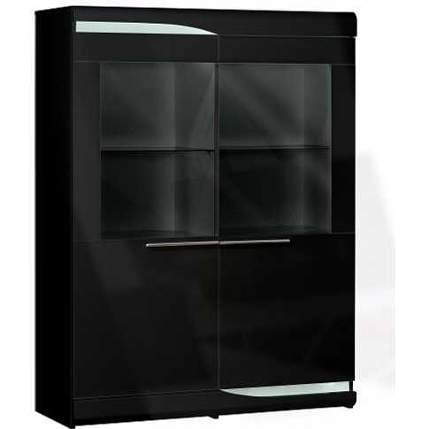 Merida Display Cabinet Wide In Black Lacquer With 2 ...