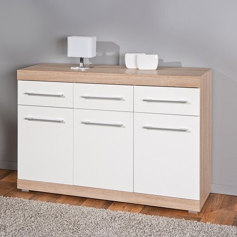 Metford Modern Sideboard In Oak With White Gloss Fro...