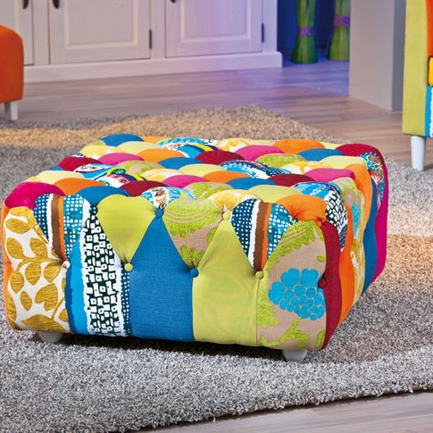 Benton Stool In Multicolour Patchwork With Wooden Legs
