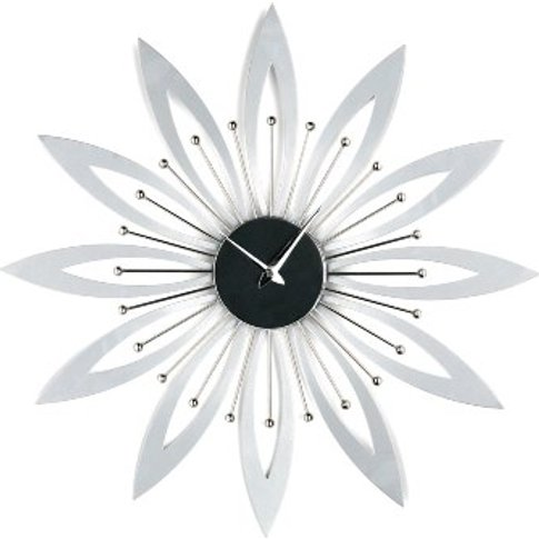 Flowered Design Wall Clock In Chrome And Black