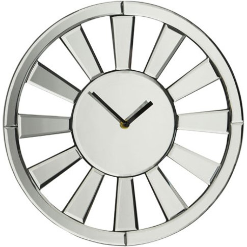 Avalon Modern Wall Clock In Glass With Mirrored Spok...