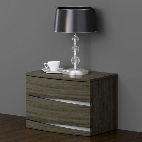 Janet Oak Finish Bedside Cabinet With 2 Drawer