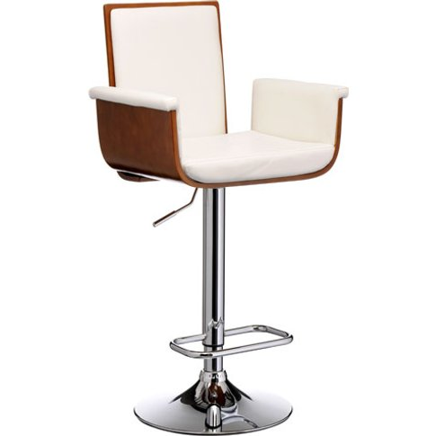 Pique Bar Stool In White Faux Leather And Walnut