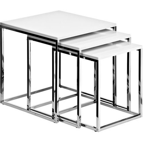 Krystal Set Of 3 Nesting Tables In White Gloss With Chrome Legs