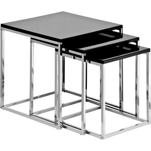 Krystal Set Of 3 Nesting Tables In Black Gloss With ...