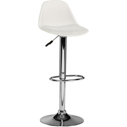 Xian Bar Stool In White Faux Leather Seat And Chrome...