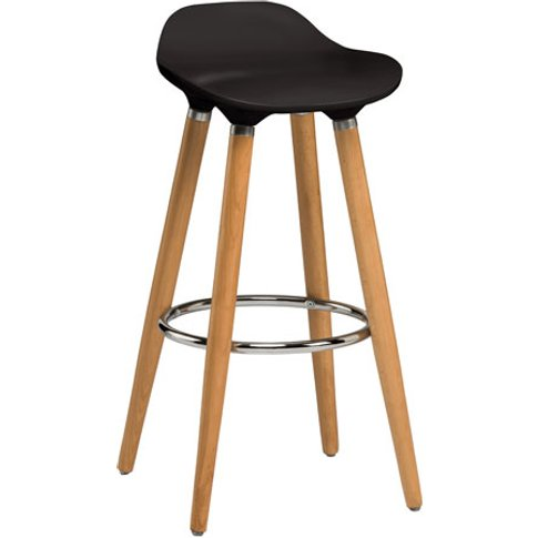 Adoni Bar Stool In Black ABS With Natural Beech Wood...