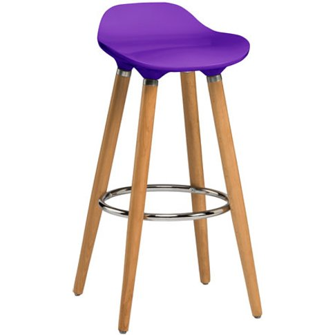 Adoni Bar Stool In Purple ABS With Natural Beech Woo...