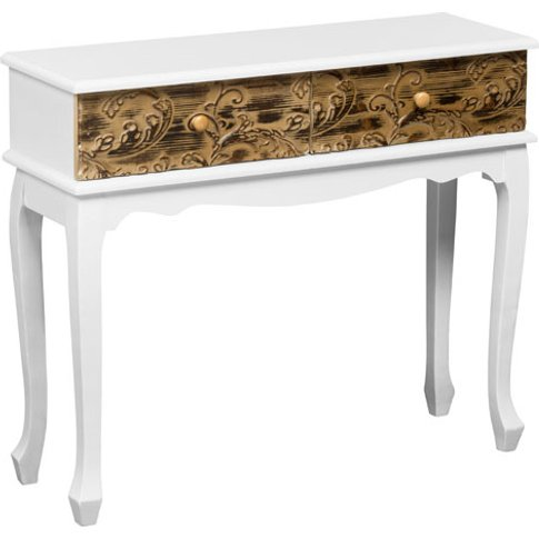 Bali Console Table In Wood With 2 Drawers