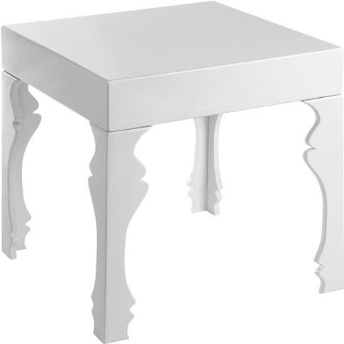 Louis Side Table Square In White High Gloss With 1 D...