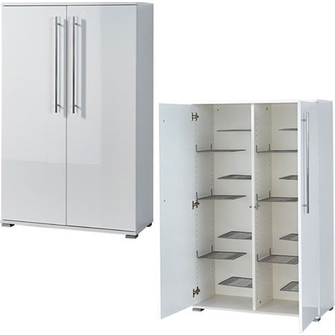 Inside Shoe Storage Cabinet In White Gloss With 2 Doors