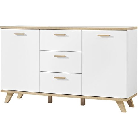 Ohio Sideboard In White And Solid Oak With 2 Doors A...
