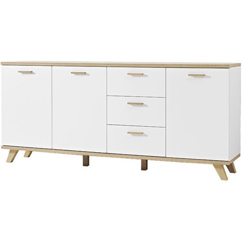 Ohio Sideboard In White And Solid Oak With 3 Doors A...