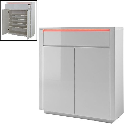 Chique Shoe Cabinet In White Gloss With 2 Door And L...