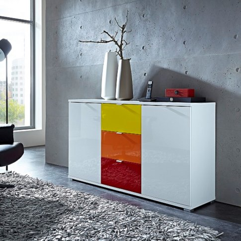 Colorado Sideboard In White With 2 Doors And 3 Drawers