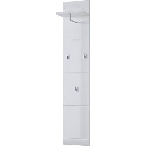 Adrian Coat Rack In White With High Gloss Fronts