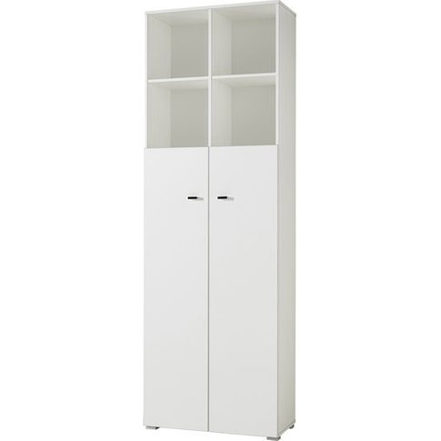 Montreal Home Office Cabinet In White With 2 Shelf A...