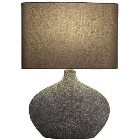 Ceramic Brown Matt Base With Brown Oval Drum Shade T...