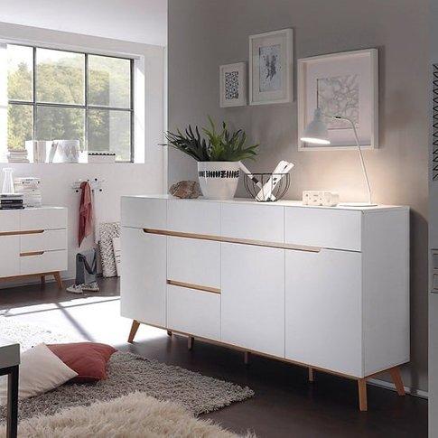 Merina Modern Sideboard In Matt White And Oak With 3...