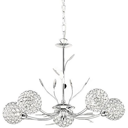 Bellis Ii 5 Lamp Chrome Ceiling Light With Clear But...