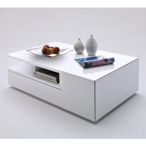 Davos Coffee Table High Gloss White With Multi Stora...