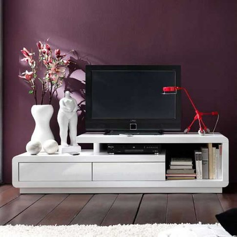 Celia High Gloss Plasma Tv Unit In White With Two Dr...