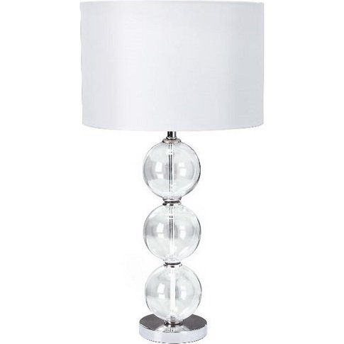 Chrome Table Lamp With Glass Balls And White Fabric ...