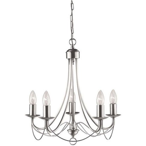 Maypole 5 Lamp Classically Styled Satin Silver Ceiling Light