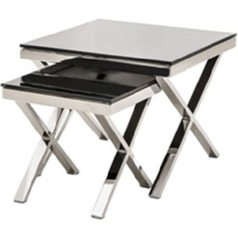 Zanti Black Glass Top Set Of 2 Nesting Tables With Chrome Base