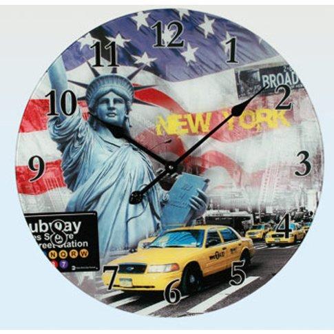 America Glass Wall Clock