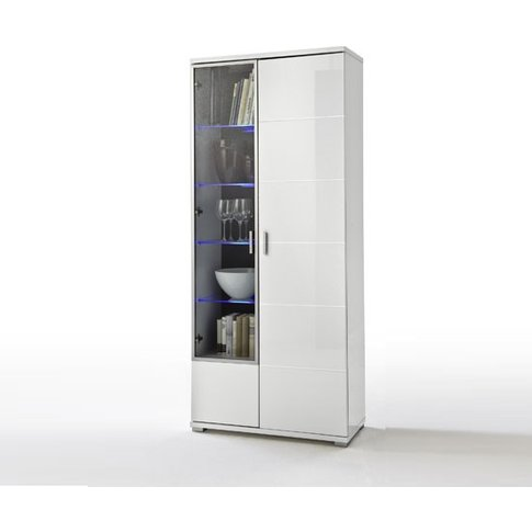 Lorano Display Cabinet In Glass And White Gloss With...