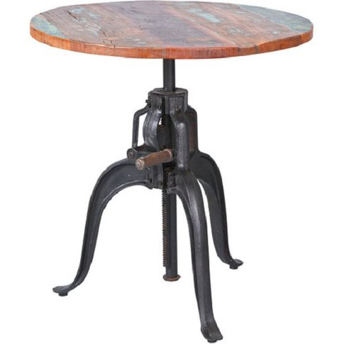 Fundos Solid Mango Wood Finish Side Table With Black...