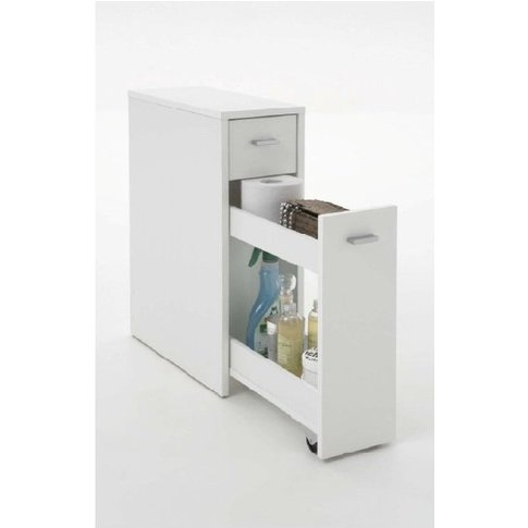 Denia Bathroom Storage Cabinet In White With Pull Ou...