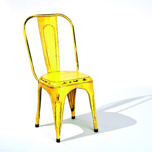 Aix Stackable Metal Dining Chair In Yellow