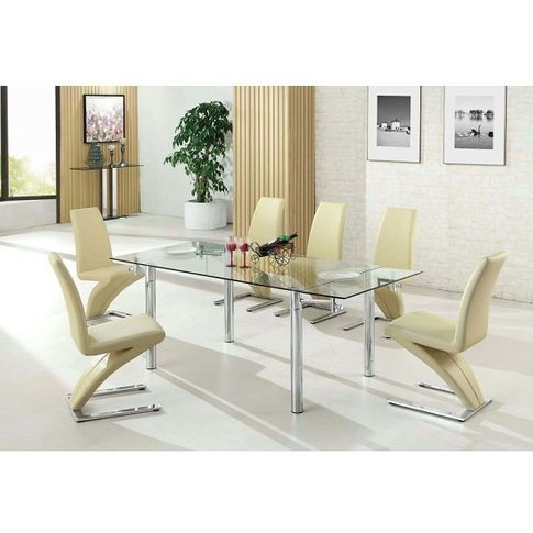 Alicia Extending Glass Dining Table With 6 Demi Chai...