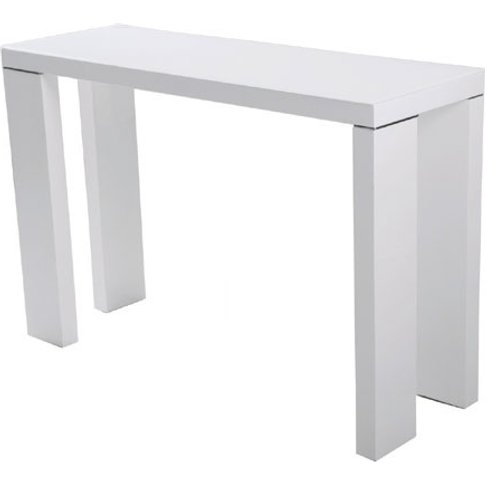 Giovanni Glass Top Console Table In White With High ...