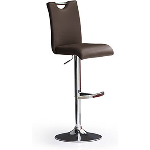 Bardo Brown Bar Stool In Faux Leather With Round Chr...