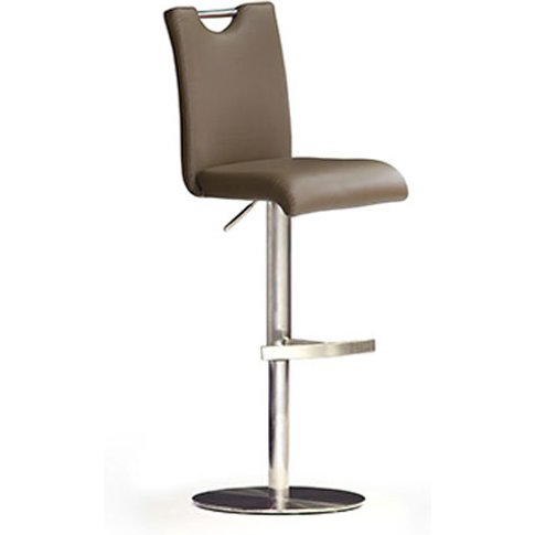 Bardo Cappuccino Pu Leather Bar Stool With Stainless...