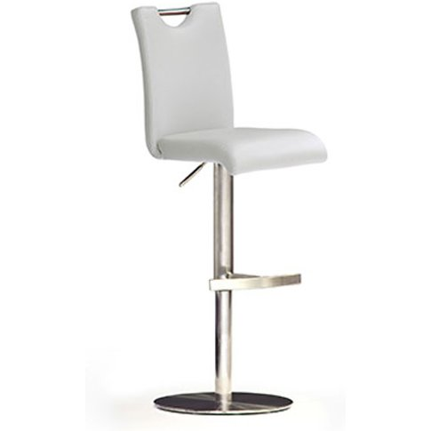 Bardo White Bar Stool In Faux Leather With Stainless...